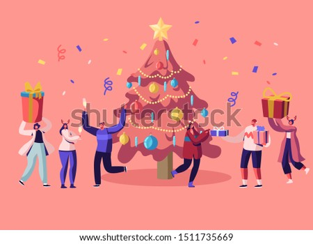 New Year Bash. Happy People Celebrating Party Having Fun and Dancing at Decorated Christmas Tree with Garland and Confetti, Giving Gifts on Family or Corporate Event Cartoon Flat Vector Illustration