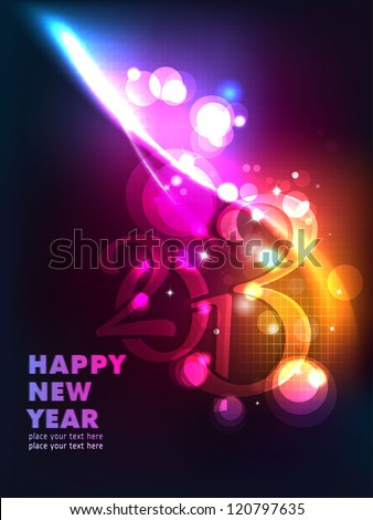 New Year Big Bash!! Sparkling Greetings. Dark Background with elemental vector Drawing perfect for New year Party invitation cards.