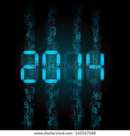 New Year 2014: blue digital numerals on black.