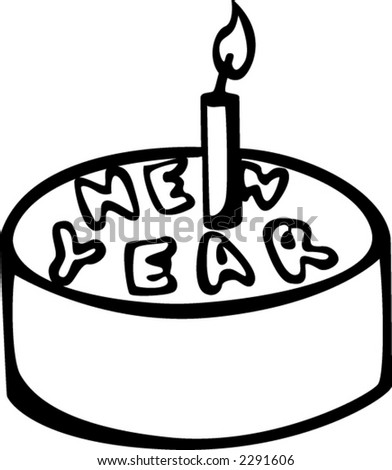 new year cake - stock vector
