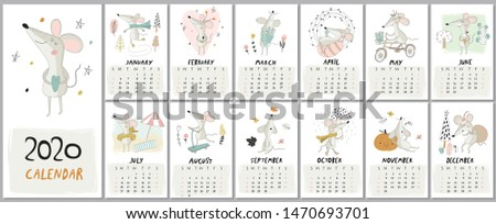 New 2020 year calendar with cute mice in cartoon style Foto d'archivio ©