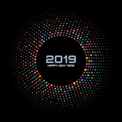 New Year 2019 Card Background. Bright Colorful Disco Lights Halftone Circle Frame isolated on black background. Round border using rainbow colors confetti circle dots texture. Vector illustration.