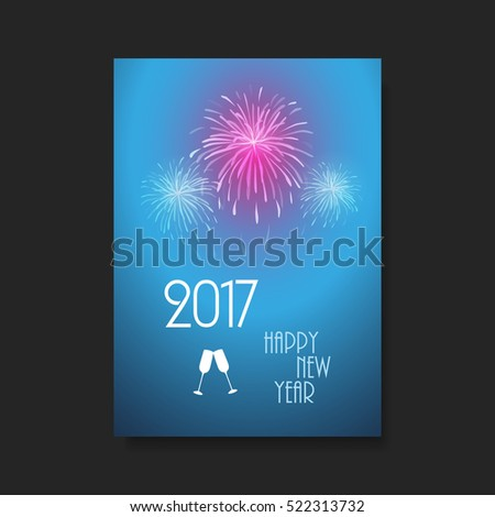 New Year Card Background - Flyer Design with Fireworks - 2017 #522313732