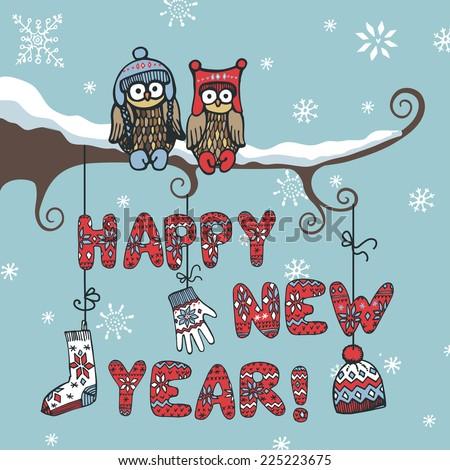 New Year Card.Cute Cartoon Owl Couple Sitting On Branch ...