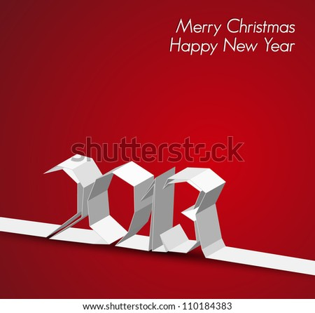 New Year 2013 card made from paper stripe, red vector illustration