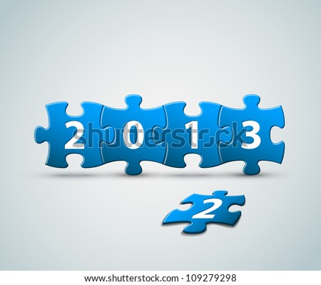 New Year 2013 card made from puzzle pieces vector illustration
