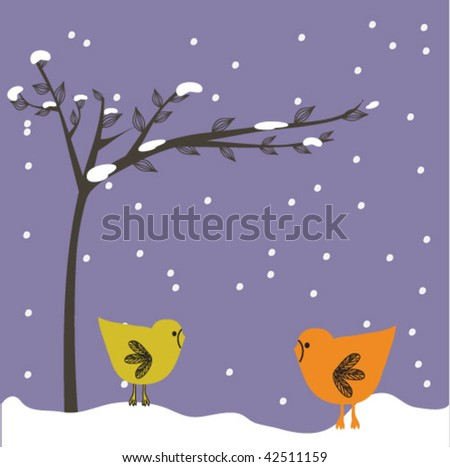 new year card with birds couple