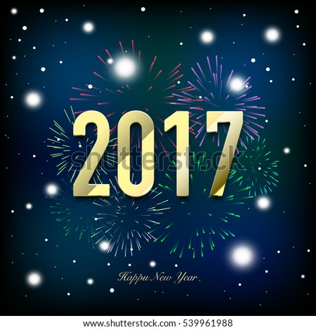 New year 2017 card with fireworks and snowflakes in background