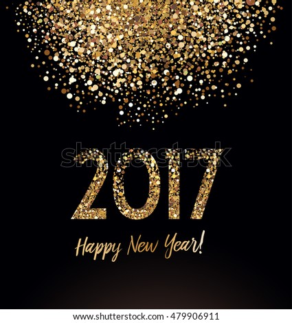 New Year card with glittering background and gold dust