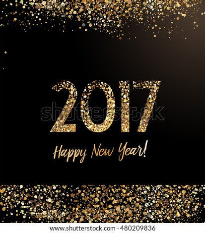 New Year card with glittering  gold dust against black background