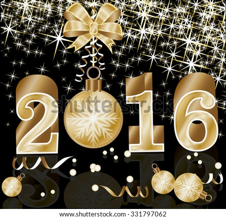 new 2016 year card with golden