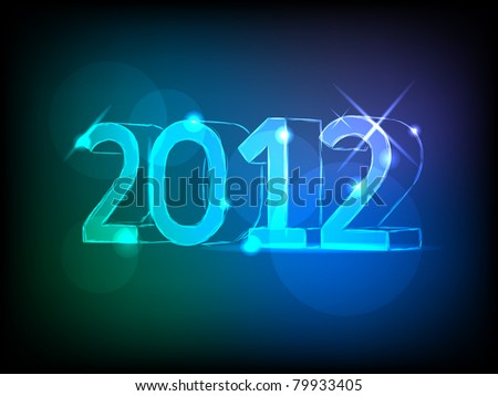 new year 2012  card with neon numbers