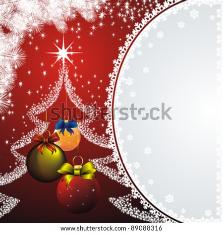 new year card with snow frame, white fir and colorful christmas decorations