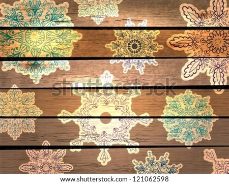 New Year card with snowflake over wood background, vector