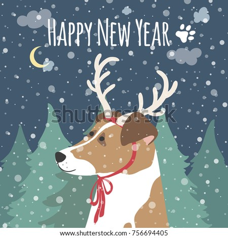 New Year card with the symbol of 2018 by a dog. A dog with deer antlers against the background of a night forest. Vector greeting illustration.