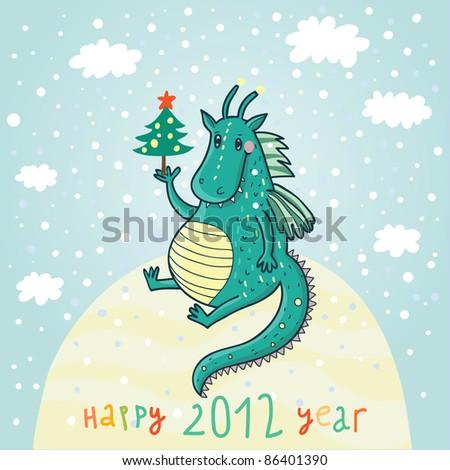 new 2012 year cartoon symbol
