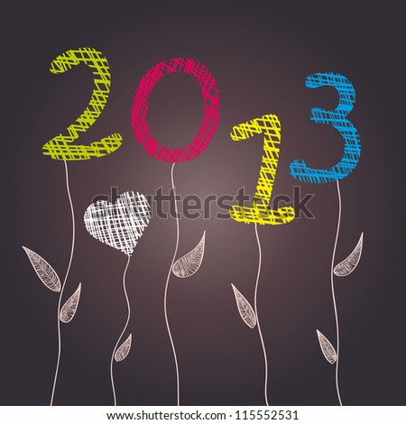 New Year 2013 Celebration - Abstract flowers. Vector illustration. Eps 10. - stock vector