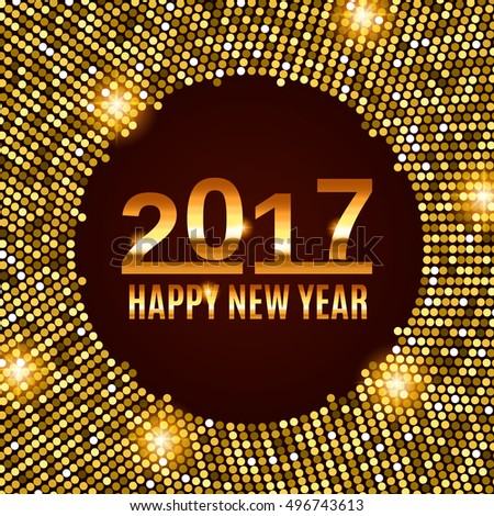 New Year 2017 celebration background. Happy New Year gold type on black background with gold disco lights frame. Greeting card template. Vector illustration. #496743613
