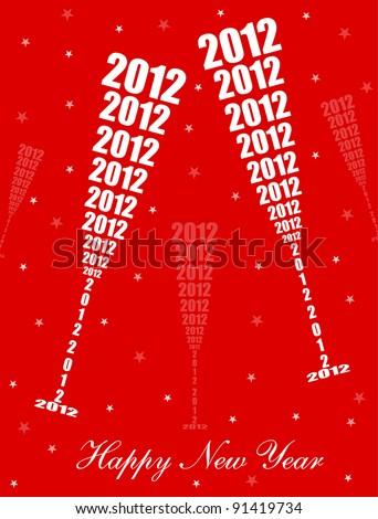 New Year 2012 Celebration - Stylish Wine Glass Toasting Design (EPS10 Vector) - stock vector