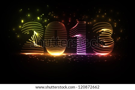 New Year celebration vector illustration, colorful lights elements - editable eps10.
