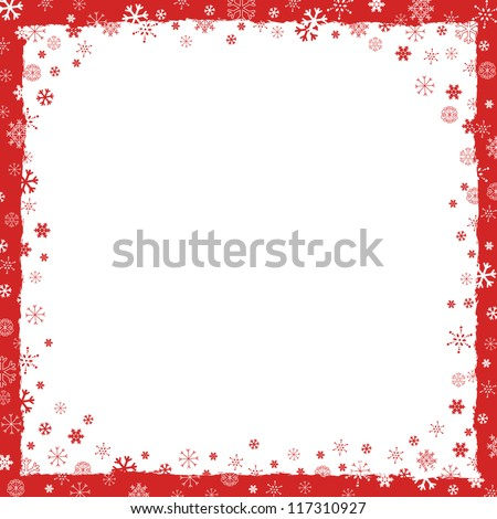New Year (Christmas) background with snowflakes border and grunge elements #117310927
