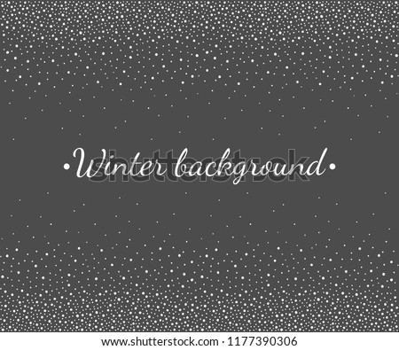 New Year, Christmas border, frame template. Seamless in horizontal direction stripe. Winter background, hand drawn falling snow texture, uneven round fading dots, snowflakes, flakes, pearls, beads.