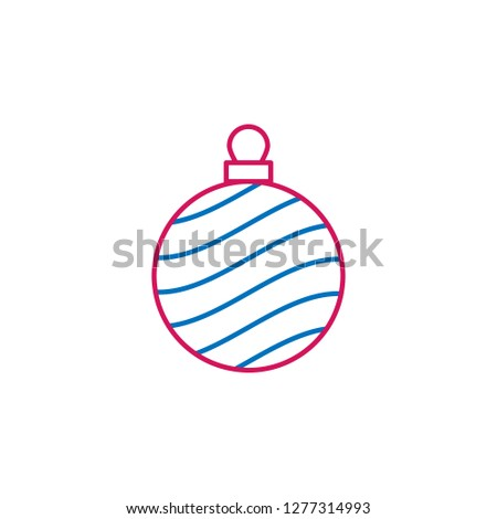 New Year, Christmas, celebration decorations ballcolored icon. Can be used for web, logo, mobile app, UI, UX on white background on white background on white background