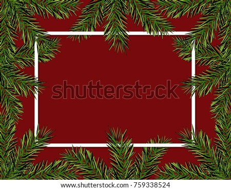 New Year Christmas. Green spruce branches in a circle on a red background. Frame for advertising and ads. Isolated Vector Illustration #759338524