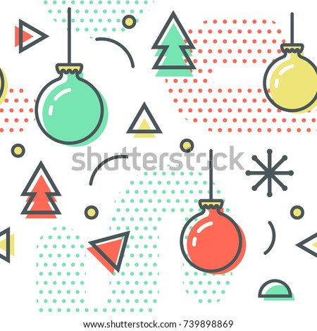 New Year Christmas Memphis Seamless Pattern. Abstract Trendy Background Retro Style. Modern Poster, Card Design with Geometric Elements. Vector illustration