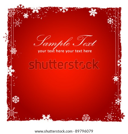 New Year (Christmas) red background with snowflakes border, decorative lace with beads and grunge elements. Vector illustration