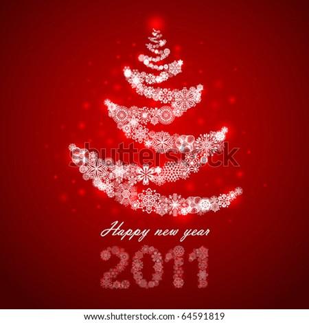 new year christmas tree snowflake illustration