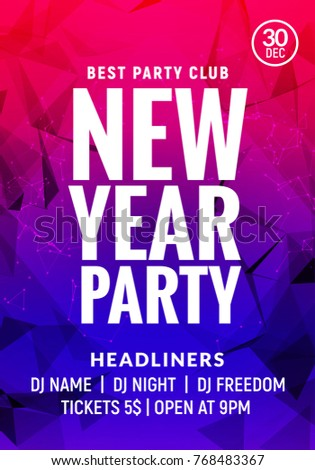 new year colorful celebration party poster new year card or banner glow background