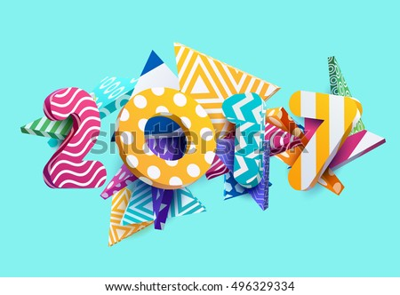 new year 2017 colorful design