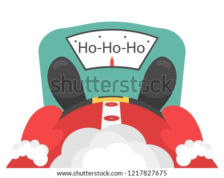 New-year concept, Santa's slimming. Fat Santa Claus, Santa is on the scales. Santa Claus measures his weight, Santa is standing on the scales. Vector illustration.