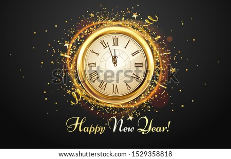 New Year countdown watch. Holiday antique clock with golden confetti, Happy New Year greeting card. 2020 gold christmas poster, xmas night celebrate time countdown vector illustration