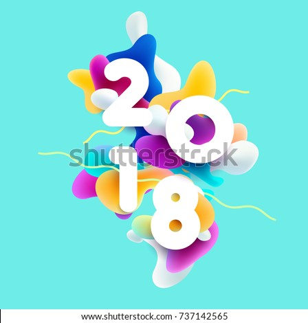New year 2018. 3D colorful design.