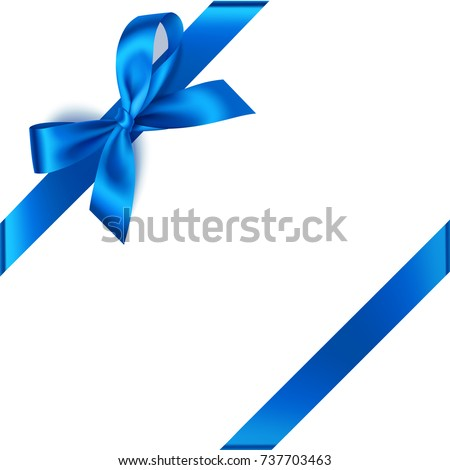 New year decorations. Vector beautiful blue bow with blue diagonally ribbon for corner decor isolated on white