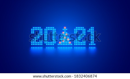 New Year digits 2021 and Christmas tree in tech style. 20 21 consist of neon dots or pixels on blue background. 2021 New Year card digital technological industry. Xmas computer holiday banner.