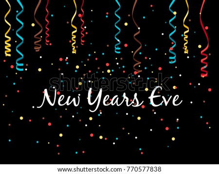 New year eve background with confetti and serpentine, vector illustration