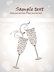 New year eve concept for newyear with champagne glasses background