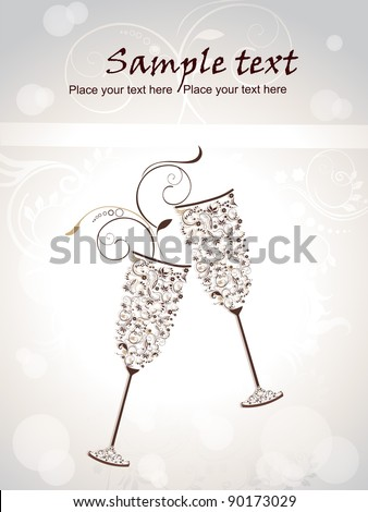 New year eve concept for newyear with champagne glasses background - stock vector