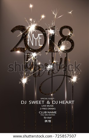New year eve 2018 party invitation card with sparklers and serpentine. Vector illustration