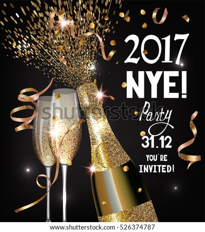 NEW YEAR  EVE Party invitation shiny banner WITH GOLD  TEXTURED SERPENTINE, GLASSES AND BOTTLE OF CHAMPAGNE. VECTOR ILLUSTRATION