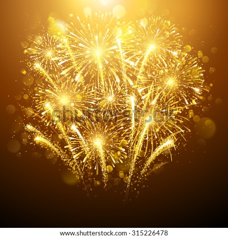 new year fireworks on dark background vector illustration