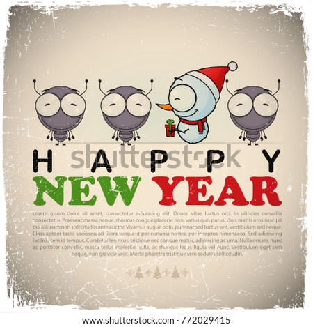 new year geeting card with