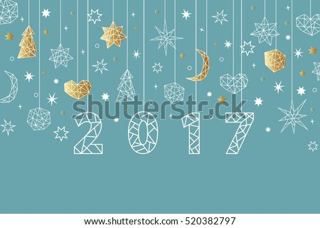 New Year 2017 geometric style background. Holiday composition with star, heart, moon, ball, noel. Greeting card, invitation, flyer, banner.