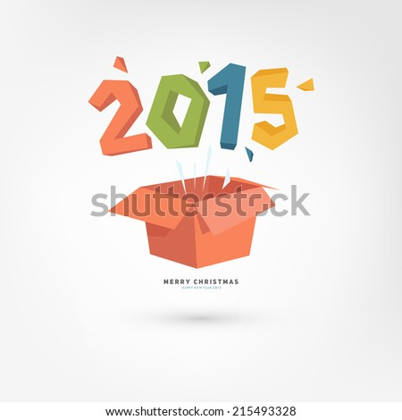 New Year Gift Box with 2015. Holiday Design. Flat Cartoon Style.