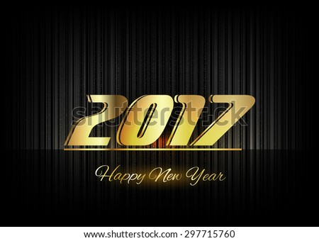 New Year 2017. Gold numbers on the black background. Luxury design elements. #297715760