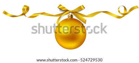 New year golden ball with ribbon for page decor. Christmas decoration. Vector ball with bow isolated on white