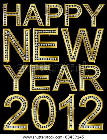 New year 2012 golden with diamonds, vector illustration